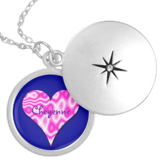 Swirly Pink Heart Necklace on Blue Background