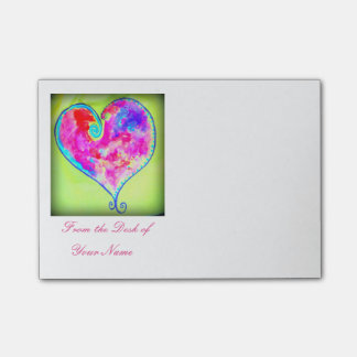 swirly pink heart post-it® notes