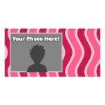 Swirly Pink Striped Photo Card