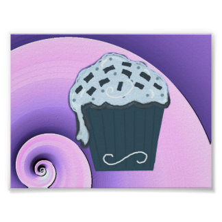 Swirly Purple and Blue Cupcake Design on Poster
