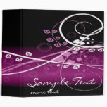 Swirly Purple and White Abstract Plants 3 Ring Binder