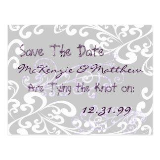 Swirly Purple Save The Date Postcard