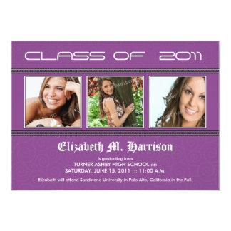 Swirly-Q 3-Photo Graduation Announcement (purple)