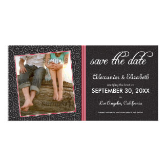 Swirly-Q Black and Red Save the Date Announcement Photo Card