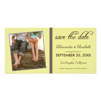 Swirly-Q Citrus/Brown Save the Date Announcement Photo Card
