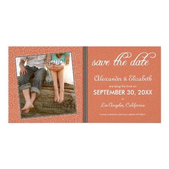 Swirly-Q Coral/Brown Save the Date Announcement