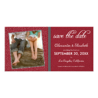 Swirly-Q Maroon/Black Save the Date Announcement