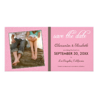 Swirly-Q Pink/Brown Save the Date Announcement Photo Card