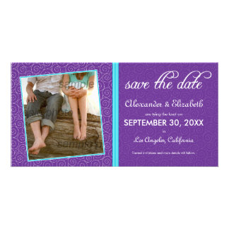 Swirly-Q Purple/Lime Save the Date Announcement