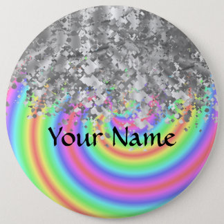 Swirly rainbow and faux glitter button