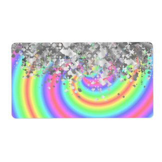 Swirly rainbow and faux glitter label
