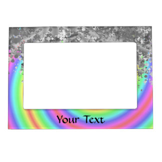 Swirly rainbow and faux glitter magnetic photo frame