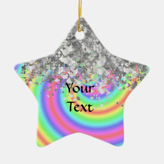 Swirly rainbow and faux glitter christmas ornament