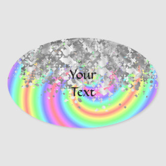 Swirly rainbow and faux glitter oval sticker
