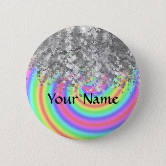 Swirly rainbow and faux glitter pinback button