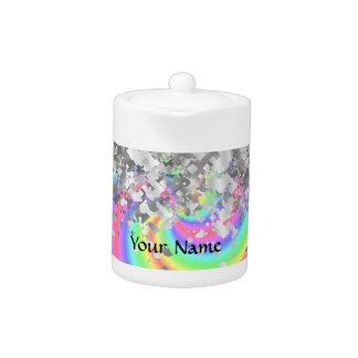Swirly rainbow and faux glitter teapot