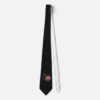 Swirly Rainbow Rose Neck Tie