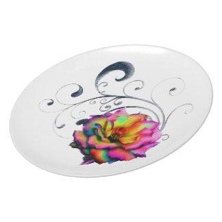 Swirly Rainbow Rose Plate