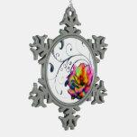 Swirly Rainbow Rose Snowflake Ornaments
