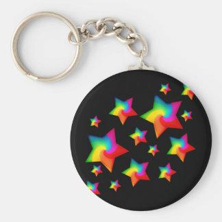 Swirly Rainbow Stars Basic Round Button Keychain