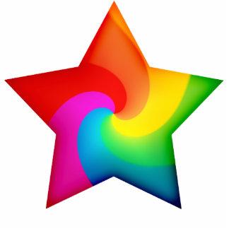 Swirly Rainbow Stars Cutout