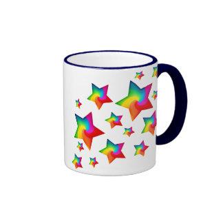 Swirly Rainbow Stars Ringer Coffee Mug