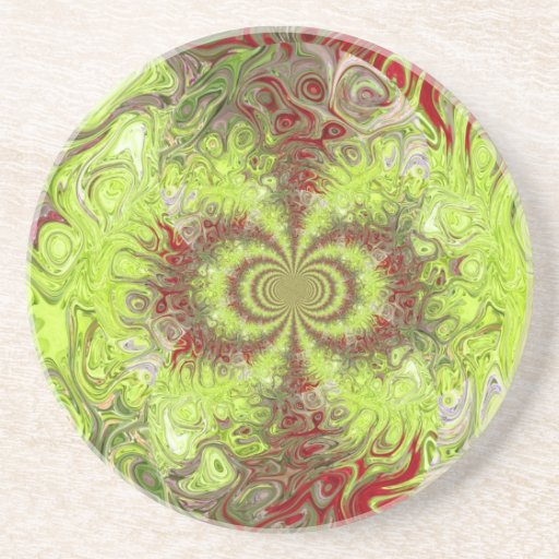 Swirly red and green coaster