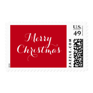 Swirly red and white Merry Christmas stamps