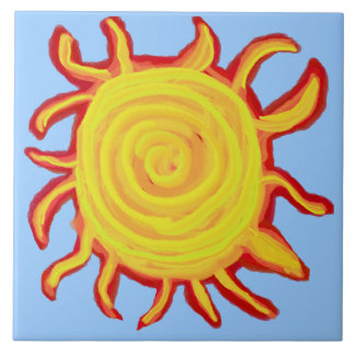Swirly Red and Yellow Sun Ceramic Tile