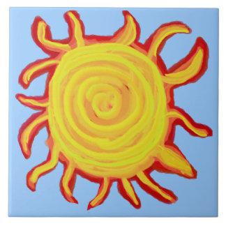 Swirly Red and Yellow Sun Ceramic Tile