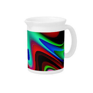 Swirly Red Black Blue Abstract Beverage Pitchers