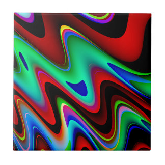 Swirly Red Black Blue Abstract Ceramic Tile