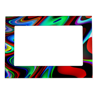 Swirly Red Black Blue Abstract Magnetic Photo Frame