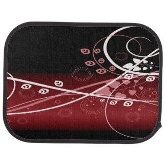 Swirly Red Floral Floor Mat