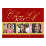 Swirly Red/Gold 3 Photo Graduation Announcement
