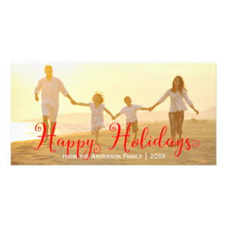 Swirly Red Happy Holidays - Photo Card