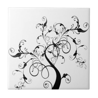 Swirly romantic tree ceramic tile