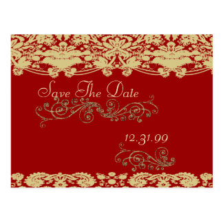 Swirly Save The Date Vintage Floral Damask Postcard