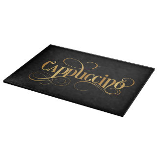 Swirly Script Calligraphy Cappuccino Gold on Black Cutting Board