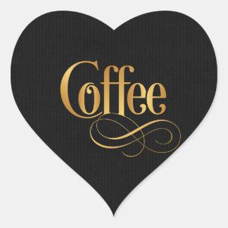 Swirly Script Calligraphy Coffee Gold on Black Heart Sticker