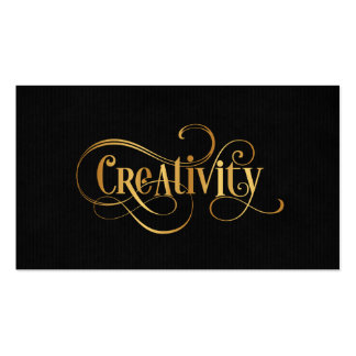 Swirly Script Calligraphy Creativity Gold on Black Business Card