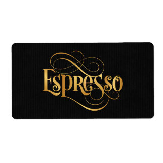 Swirly Script Calligraphy Espresso Gold on Black Label