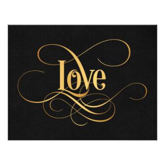 Swirly Script Calligraphy Love Gold on Black Custom Flyer
