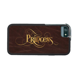 Swirly Script Calligraphy Princess Gold on Leather iPhone 5/5S Case