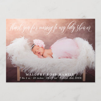 Swirly Script Overlay Photo Thank You Baby Shower Announcement