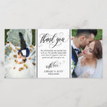 "Swirly Script Two Wedding Photos Thank You<br><div class=""desc"">Photo card personalized with two of your own wedding photos. Thank you written in an elegant swirly black script above a personal message to your wedding guests. Add your names too!</div>"