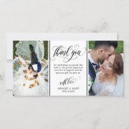 Swirly Script Two Wedding Photos Thank You at Zazzle
