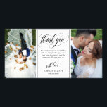 """Swirly Script Two Wedding Photos Thank You Card<br><div class=""""desc"""">Photo card personalized with two of your own wedding photos. Thank you written in an elegant swirly black script above a personal message to your wedding guests. Add your names too!</div>"""