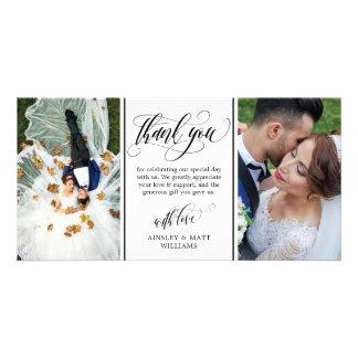 Swirly Script Two Wedding Photos Thank You Card