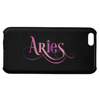 Swirly Script Zodiac Sign Aries Pink on Black iPhone 5C Cover